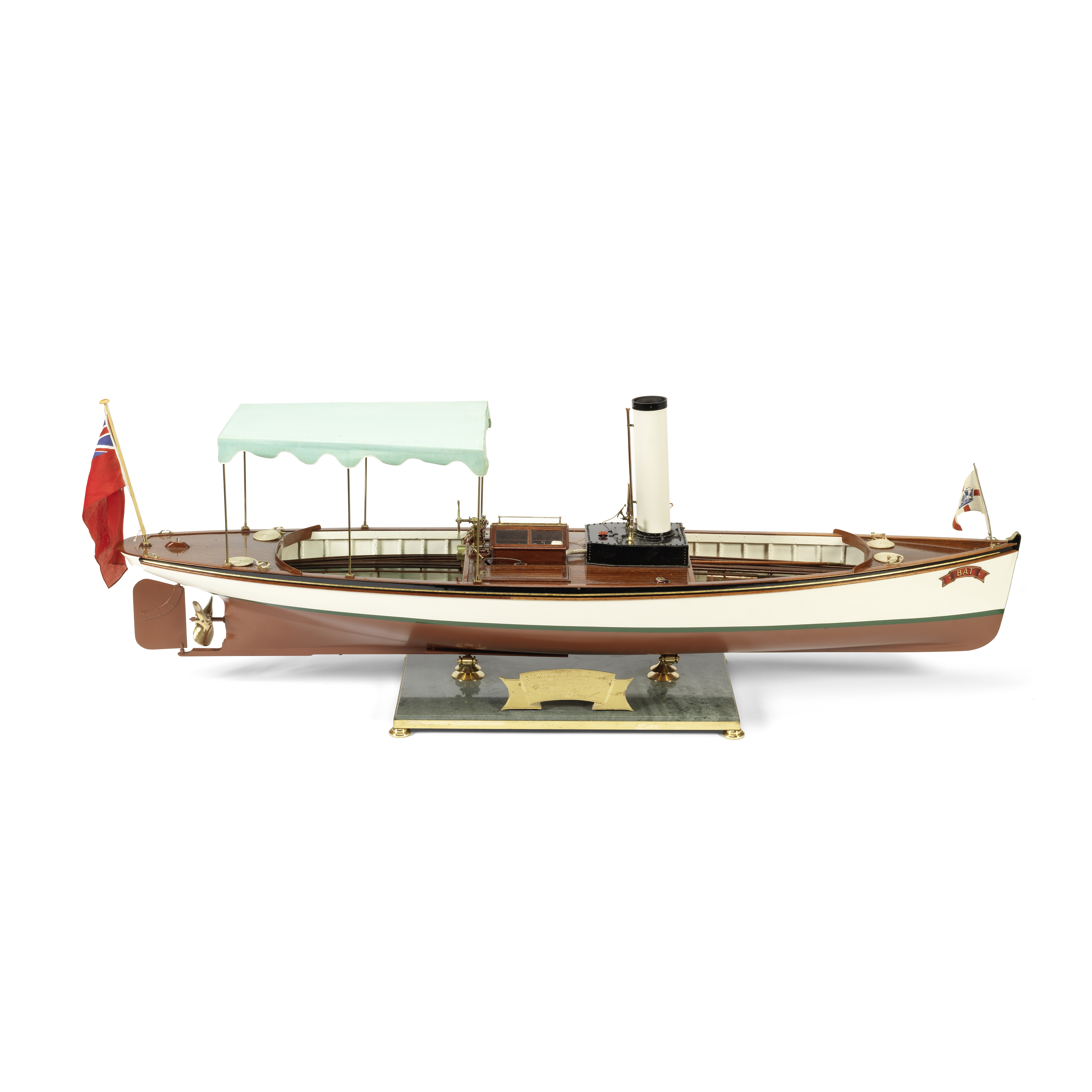 A Radio-Controlled Scale Model of the Steam Launch 'Bat', 20th century, 14in (35.5cm) tall on bas...