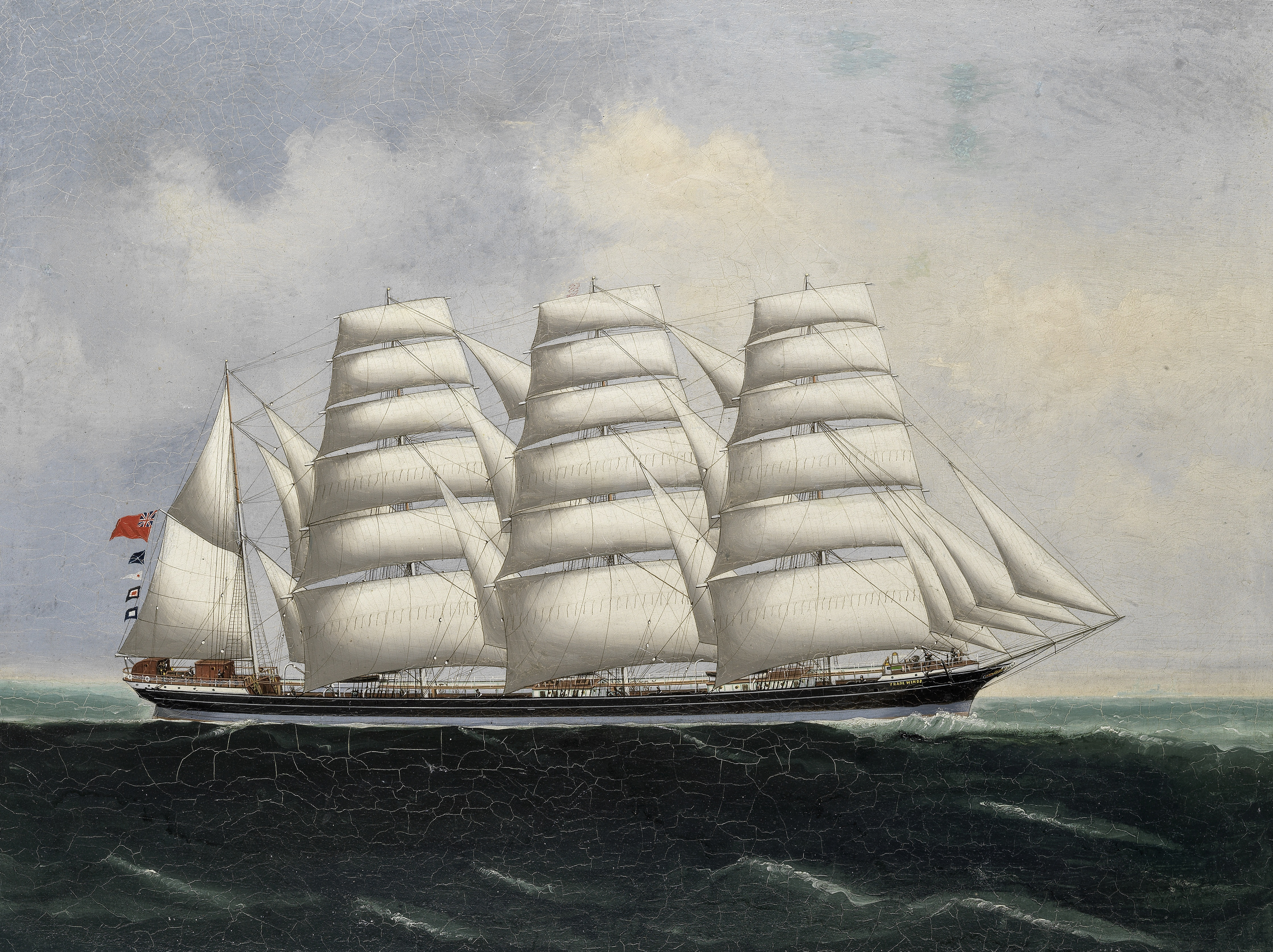 Attributed to Lai Fong (Chinese, active 1870-1910) The four masted barque Trade Winds in full sail
