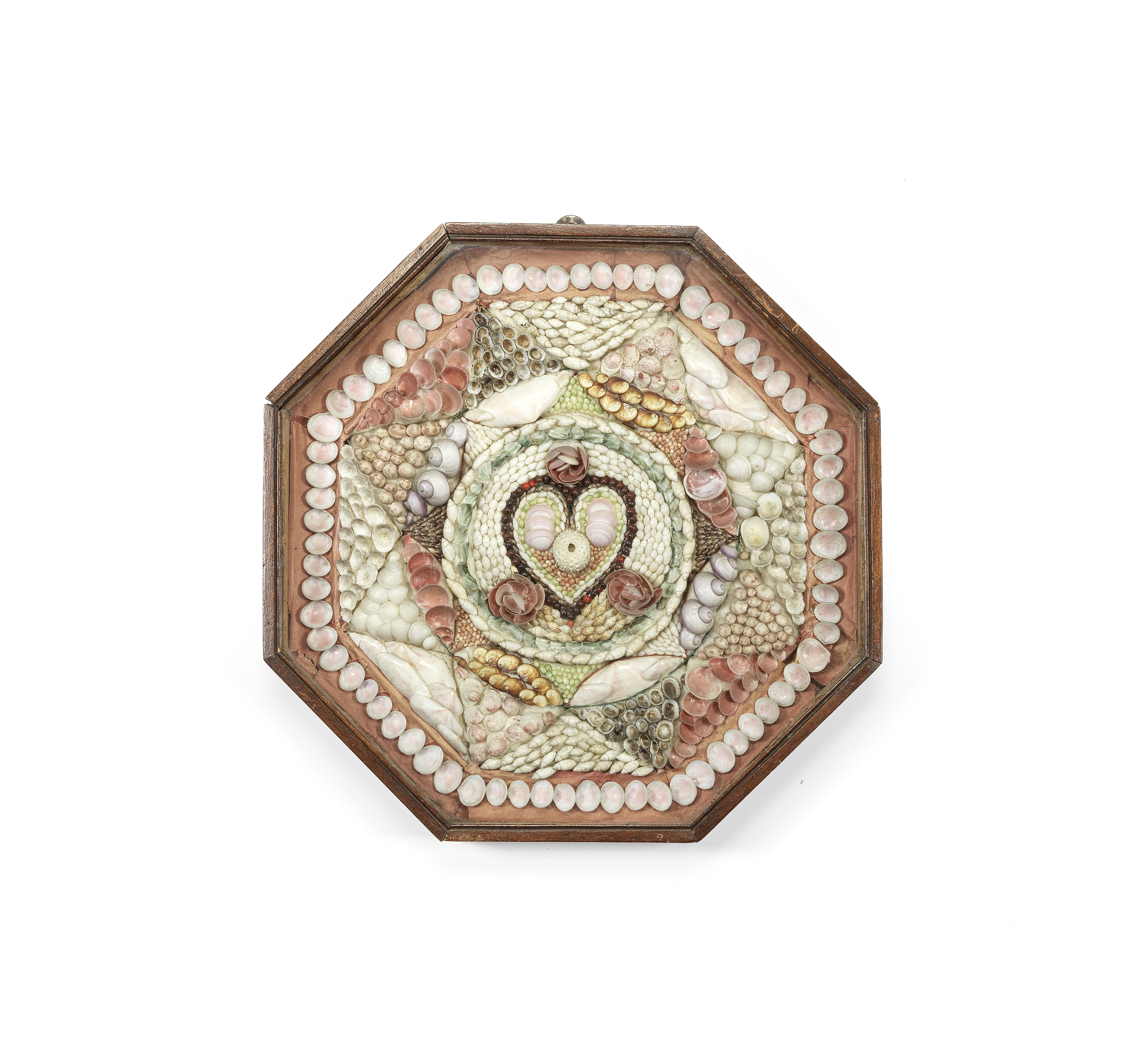 A SHELL-WORK SAILOR'S VALENTINE, 19TH CENTURY, 14in (35.5cm) wide