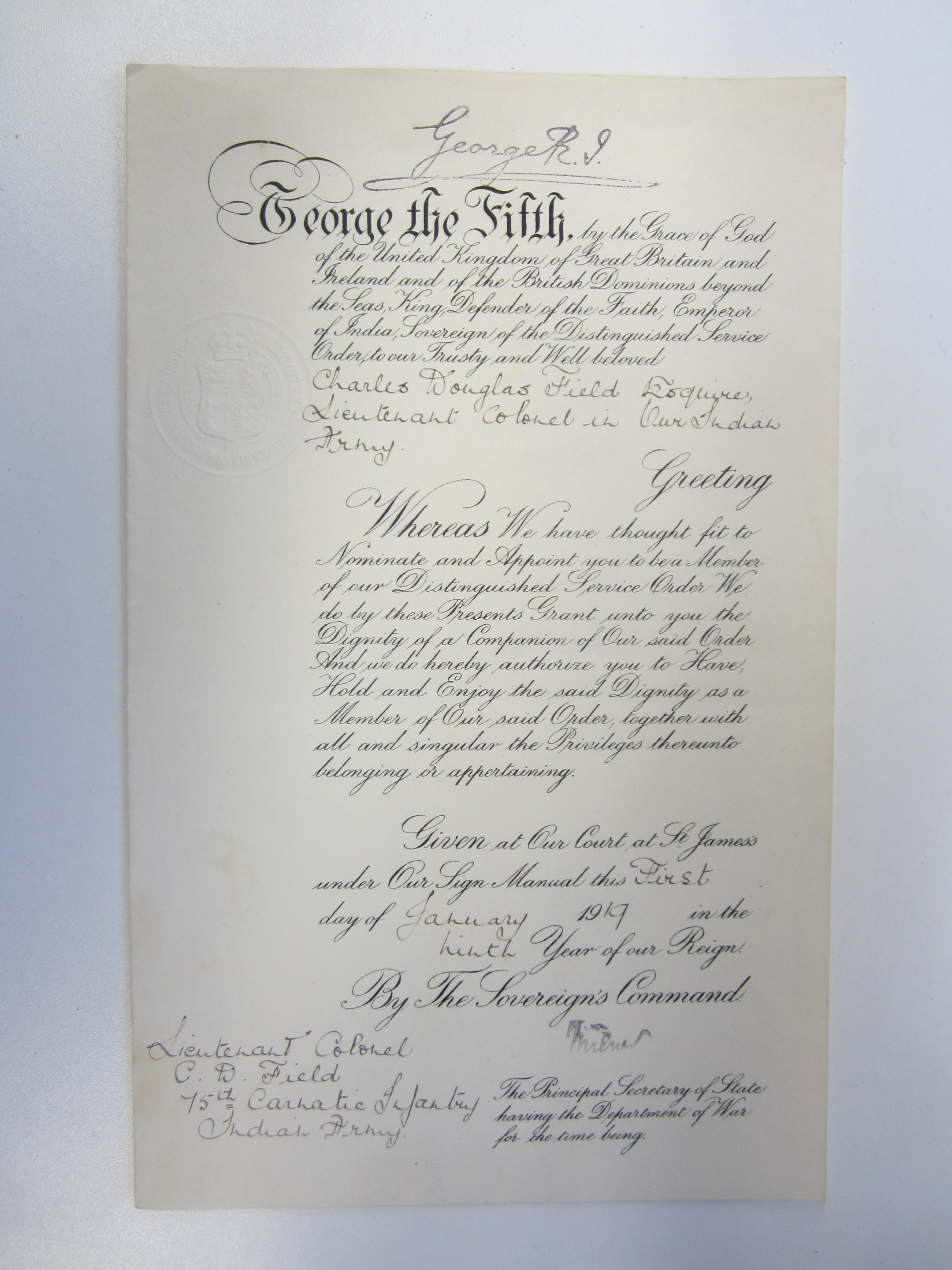 A Warrant for the award of the Distinguished Service Order to Lieutenant Colonel C.D.Field, 75th ...