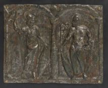 MINERVA ET HERACLÈS : RELIEF, BRONZE, ART ROMAIN, CIRCA IIE-IIIE S. AP. J.-C.