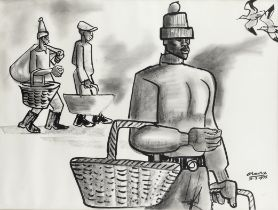 Peter Clarke (South African, 1929-2014) Off to market ('Men Carrying Baskets')