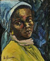 Benedict Chukwukadibia Enwonwu M.B.E (Nigerian, 1917-1994) The Blue Headscarf