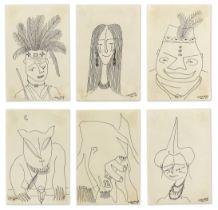 Prof. Uche Okeke (Nigerian, 1933-2016) Oja Suite, six drawings (1959-1962) ((6))