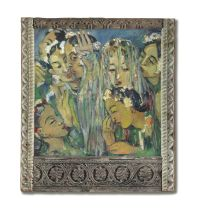 Irma Stern (South African, 1894-1966) Lelemana Dance (within original artist's Zanzibar frame.)