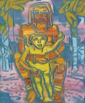 Walter Whall Battiss (South African, 1906-1982) Multiple Mother and Child 30.5 x 25cm (12 x 9 13...
