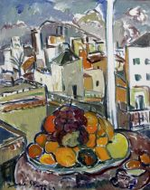 Irma Stern (South African, 1894-1966) A Still Life of Fruit with a Spanish City Beyond