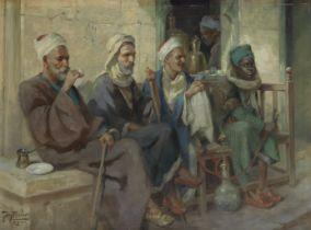 Tony Binder (Austrian, 1868-1944) Un café au Caire