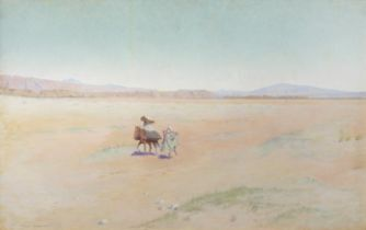 Charles James Theriat (American, 1860-1937) Travellers in the desert, Biskra
