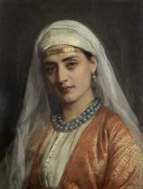 John Bagnold Burgess, RA (British, 1830-1897) The blue necklace