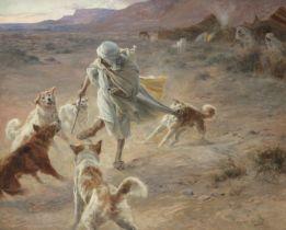 Eugene Alexis Girardet (French, 1853-1907) Nomade devant un campement, attaqué par des chiens