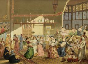 G. Esperon (19th Century) Dancing figures in an interior