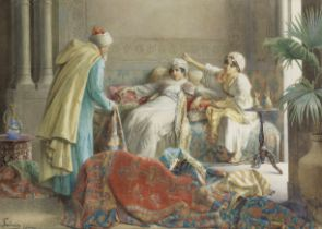 Francesco Ballesio (Italian, 1860-1923) The carpet merchant