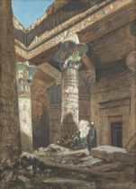 Louis Amable Crapelet (French, 1822-1867) Figures inside the Isis Temple at Philae