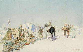 Giuseppe Signorini (Italian, 1857-1932) A desert bazaar unframed