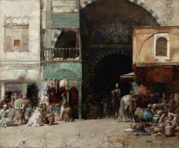 Alberto Pasini (Italian, 1826-1899) Marketplace at the Entrance to a Bazaar, Constantinople
