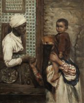 French School, circa 1900 Street scene with mother and child beside a window with a figure leanin...