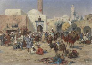 Albert Joseph Franke (German, 1860-1924) A busy market