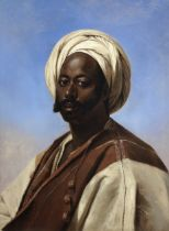 Eugène Verboeckhoven (Belgian, 1799-1881) Portrait of a man in a white turban