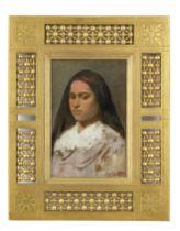 Leopold Carl Müller (German, 1834-1892) Portrait of a lady wearing a pink headband