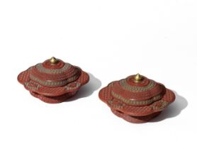 A FINE AND RARE PAIR OF THREE-COLOUR CINNABAR LACQUER CARVED PRUNUS-SHAPED BOWLS AND COVERS, ZHAD...