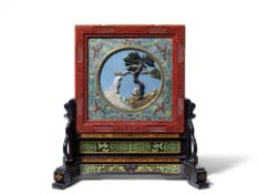 A SUPERB IMPERIAL CLOISONNÉ ENAMEL, LACQUER AND ZITAN EMBELLISHED DOUBLE-SIDED SCREEN AND ST...