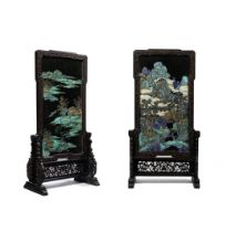 A MAGNIFICENT AND VERY RARE PAIR OF ZITAN-FRAMED KINGFISHER FEATHER-INLAID 'LANDSCAPE' SCREENS Qi...