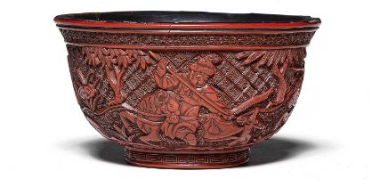 A RARE CARVED CINNABAR LACQUER 'HUNTING SCENE' BOWL 16th/17th century (2)