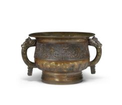 A VERY RARE LARGE GOLD-SPLASHED BRONZE INCENSE BURNER FOR THE ISLAMIC MARKET, GUI Xuande mark, 17...
