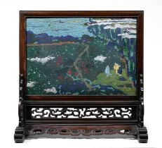 A FINE AND RARE CLOISONNÉ ENAMEL SCREEN AND STAND The screen first half 17th century, the ha...