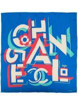 A BLUE AND PINK GEOMETRIC LOGO SILK SCARF Chanel
