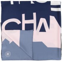 A BLUE AND PINK SKYLINE SILK SCARF Chanel