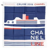 A NAVY, PINK AND RED STRIPE CRUISE LINER SILK SCARF Chanel, Cruise 2019
