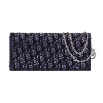 A NAVY BLUE SATIN AND CRYSTAL LADY DIOR CLUTCH Christian Dior (includes authenticity card, should...