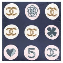 A BLUE AND PINK CC EMBLEM SILK SCARF Chanel