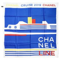 A BLUE, RED, WHITE AND YELLOW CRUISE LINER SCARF Chanel, Cruise 2019