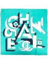 A TURQUOISE AND NAVY GEOMETRIC LOGO SILK SCARF Chanel