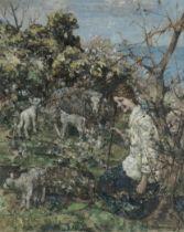 Edward Atkinson Hornel (British, 1864-1933) The Shepherdess 61 x 50.8 cm. (24 x 20 in.)