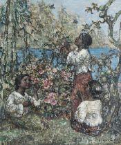 Edward Atkinson Hornel (British, 1864-1933) Burmese Girls 61 x 51 cm. (24 x 20 1/16 in.)