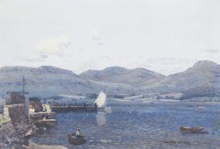 George Houston RSA RSW RGI (British, 1869-1947) Boating on a loch 35 x 50 cm. (13 3/4 x 19 11/16 ...