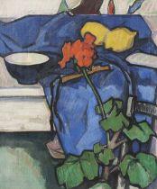 Samuel John Peploe RSA (British, 1871-1935) Still Life with Geranium 55 x 46.3 cm. (21 5/8 x 18 1...