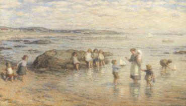 Hugh Cameron, RSA RSW ROI (British, 1835-1918) Children playing on the sea shore 61.5 x 104 cm. (...
