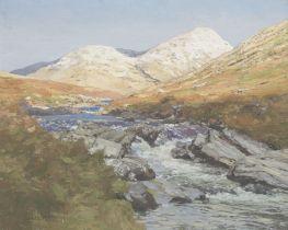 Attributed to George Houston RSA RSW RGI (British, 1869-1947) Highland river landscape in Winter ...