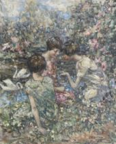 Edward Atkinson Hornel (British, 1864-1933) The Butterfly 61.5 x 51 cm. (24 3/16 x 20 1/16 in.)