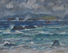 Adam Bruce Thomson OBE RSA PRSW HRSW (British, 1885-1976) Sound of Iona, The Puffer 41 x 50.7 cm....