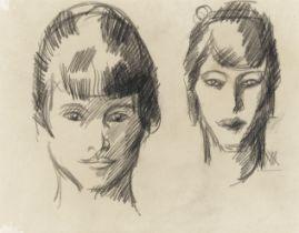 John Duncan Fergusson RBA (British, 1874-1961) Head Studies 18 x 22.5 cm. (7 1/16 x 8 7/8 in.)