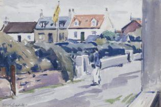 Francis Campbell Boileau Cadell RSA RSW (British, 1883-1937) Village street 17 x 24.7 cm. (6 11/1...