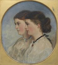 Sir Francis Grant RA (British, 1803-1878) Double portrait of the artist's daughters, Elizabeth an...