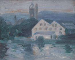 John Duncan Fergusson (British, 1874-1961) The Mill at Tweed Bridge, Peebles 19 x 24 cm. (7 1/2 ...