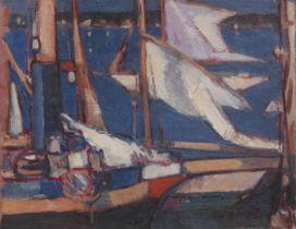 John Duncan Fergusson RBA (British, 1874-1961) Boats at Royan 27 x 34.6 cm. (10 5/8 x 13 5/8 in.)